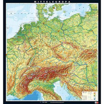 Karte Mitteleuropa Physisch Ivo Haas Lehrmittelversand Verlag